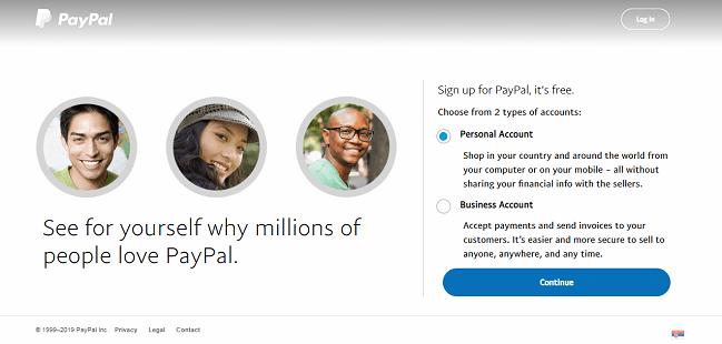 paypal registracija nalog