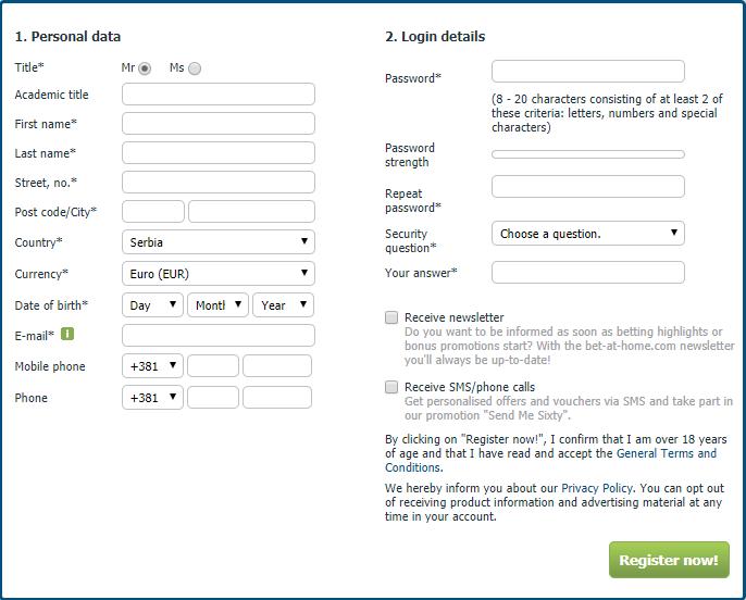 Registracija Bet-at-home