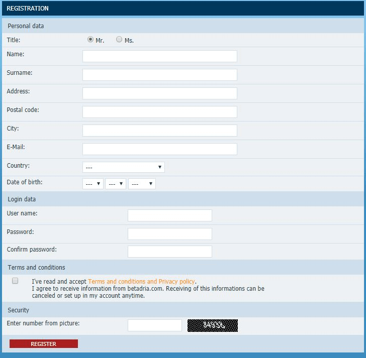 betadria registracija