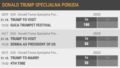 Donald Tramp Kladionice  Specijalna Ponuda